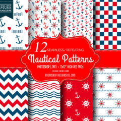 12 Seamless Red and Blue Nautical Patterns