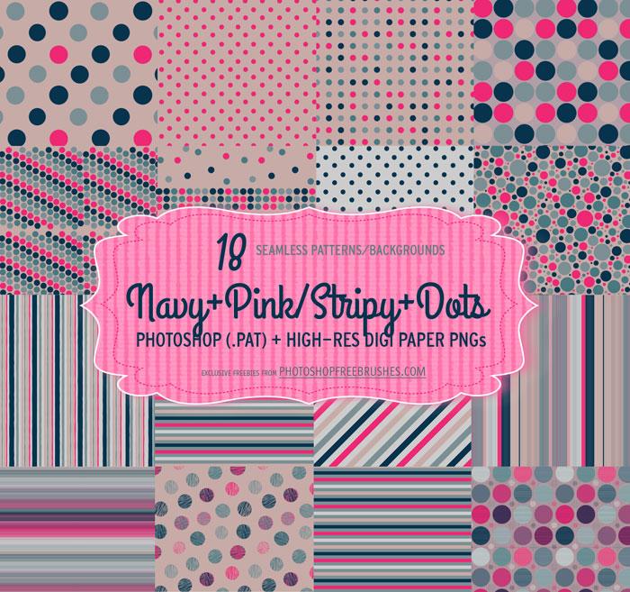 navy pink dots stripes patterns
