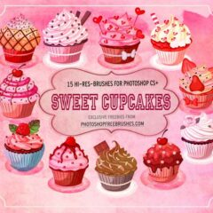 15 Artsy Cupcakes Watercolor Photoshop Brushes