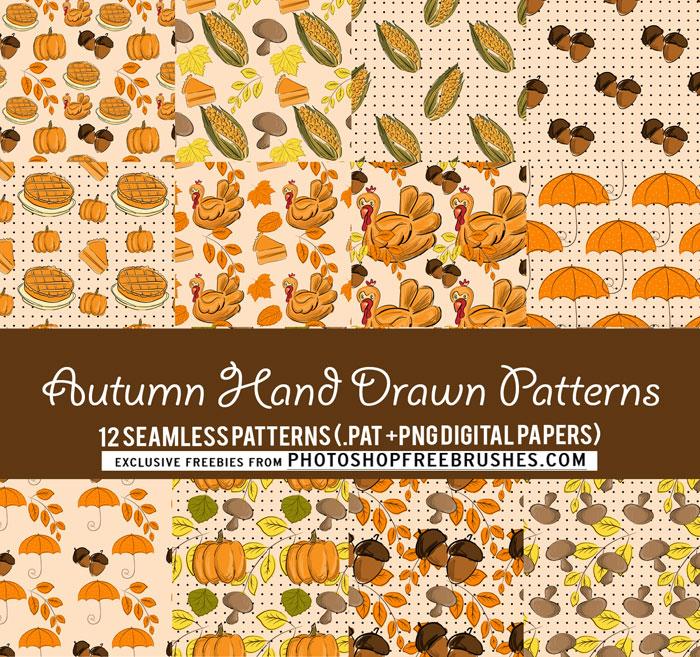 autumn hand drawn patterns