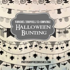 15 Free Halloween Bunting Flags and Border Brushes