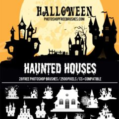 28 Free Halloween Brushes: Haunted Houses