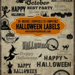 20+ Halloween Tag and Label Photoshop Brushes Vol.1