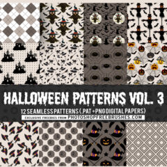 12 Halloween Seamless Backgrounds in Brown and Black