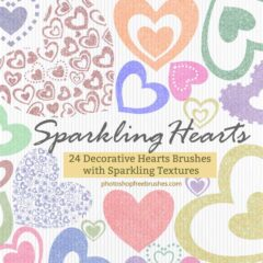 24 Free Sparkling Hearts PS Brushes +PNG images