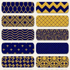 30 Blue and Gold Seamless Patterns for Web and Print