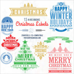 15 Free Christmas Labels PS Brushes