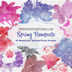 Watercolor Flowers: Spring Bouquets Photoshop Brushes