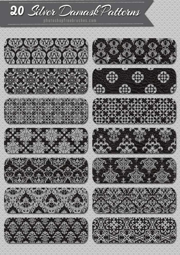 silver damask vintage patterns