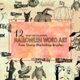 12 Halloween Word Art Brushes for Making Posters and Gift Tags