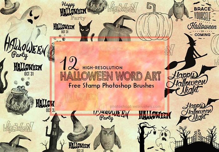 halloween word art brushes