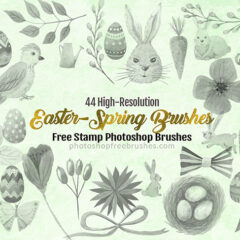 44 Easter Spring Brushes Featuring Pastel Watercolor Effect