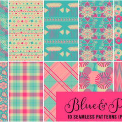 10 Seamless Pink and Blue Patterns Great as Backgrounds
