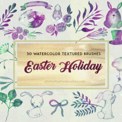 30 Easter Watercolor Brushes: Decorated Eggs, Twigs and Bunnies