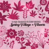 22 Free Cute Hand Drawn Foliage Flowers Brushes