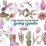 32 Garden Flowers Brushes for Spring-Themed Designs