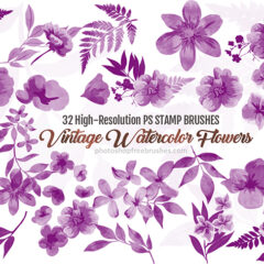 32 Vintage Watercolor Flower Brushes for Photoshop (Part 2)