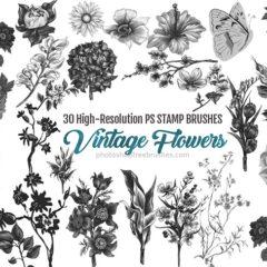 30 Vintage Watercolor Flowers Photoshop Brushes (Part 1)