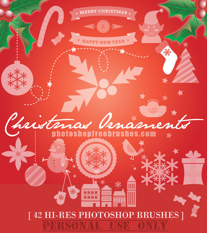 Christmas Ornaments: 42- Hi-Res PS Brushes